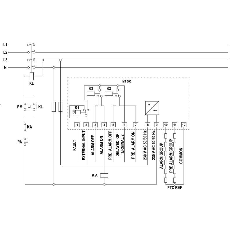 MT 300 DIN - Schema elettrico